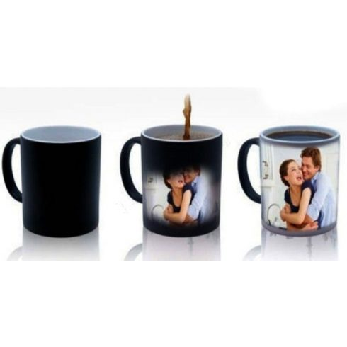 Черна керамична магическа фото чаша с ваша снимка