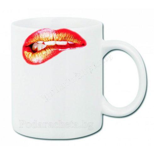Бяла керамична чаша - Устни